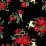 Abstract seamless floral pattern with red roses on black background vector illustration