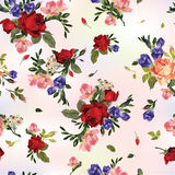 Abstract seamless floral pattern with red roses and pink and blu Stock Photo