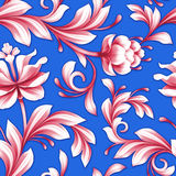 Abstract seamless floral pattern, red and royal blue flowers background Royalty Free Stock Images