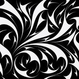 Abstract seamless floral pattern. Vector black and white backgro. Und wallpaper with hand drawn fantasy flowers, leaves, shapes, lines, swirls, curves and modern stock illustration