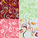 Abstract seamless floral patterns set. Illustration Stock Image