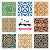 Abstract seamless floral patterns set Stock Photography