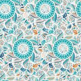 Abstract seamless floral vector pattern. Made of colorful mandalas. Blue ethnic background. Texture design for surface, fabric, textile. Repeating wallpaper stock illustration