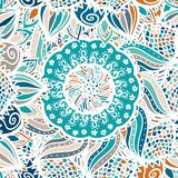 Abstract seamless floral vector pattern. Made of colorful mandalas. Blue ethnic background. Texture design for surface, fabric, textile. Repeating wallpaper royalty free illustration