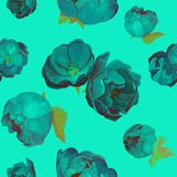 Blue flowers roses and peones pattern royalty free illustration