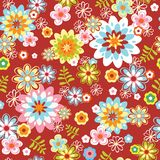 Abstract seamless flower pattern. Colorful vector illustration Stock Photos