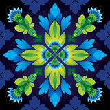 Abstract seamless flower pattern background. Abstract seamless blue and green flower pattern on dark background Royalty Free Stock Image