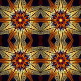 Abstract seamless flower pattern on black background. Symmetrical ornament in beige, deep blue, orange and yellow colors. Fantasy fractal design for postcards Royalty Free Stock Photos