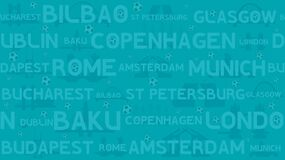 Abstract seamless football background. Soccer championship. Silhouettes of bridges. Football ball. Names of European cities.