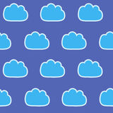 Abstract seamless gentle pattern with clouds. Colorful stylized hand drawn cloudy sky texture on light background. Cute cartoon an Royalty Free Stock Images