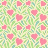 Abstract seamless geometric background with hearts and different forms. royalty free illustration