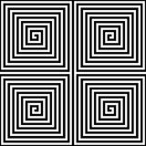 Abstract seamless geometric pattern background. Square spiral maze in black and white.  Stock Images