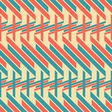 Seamless pattern of thick diagonal and horizontal stripes. Abstract seamless geometric pattern of blue and red thick diagonal and horizontal stripes, retro color Royalty Free Stock Photo