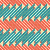 Seamless pattern of thick diagonal stripes in retro colors. Abstract seamless geometric pattern of blue and red thick diagonal segments, retro color palette Royalty Free Stock Images