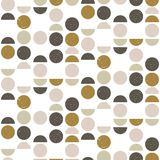 Abstract seamless geometric pattern with circles and semicircles in scandinavian style. vector illustration