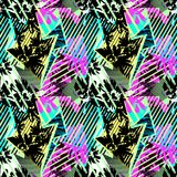 Abstract seamless geometric pattern with flowers, arrows,triangl. Es and strips. Grunge urban dynamic expressive bright painting.Print for textile,apparel Royalty Free Stock Photos