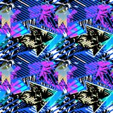 Abstract seamless geometric pattern with flowers, arrows,triangl. Es and strips. Grunge urban dynamic expressive bright painting.Print for textile,apparel Stock Photo