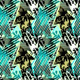 Abstract seamless geometric pattern with flowers, arrows,triangl. Es and strips. Grunge urban dynamic expressive bright painting.Print for textile,apparel Stock Image