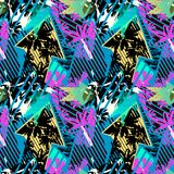 Abstract seamless geometric pattern with flowers, arrows,triangl. Es and strips. Grunge urban dynamic expressive bright painting.Print for textile,apparel Royalty Free Stock Photo
