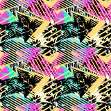Abstract seamless geometric pattern with flowers, arrows,triangl. Es and strips. Grunge urban dynamic expressive bright painting.Print for textile,apparel Royalty Free Stock Photography