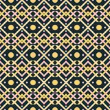 Seamless pattern of interwoven V shapes and circles Stock Photo
