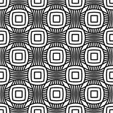 Abstract seamless geometric pattern with weave ornament. Simple black and white linear wavy striped texture. Vector Royalty Free Stock Photo
