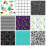 Abstract seamless geometric patterns. 80's-90's styles. Postmodern style seamless background, vector graphics, eps 10 Royalty Free Illustration