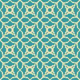 Abstract seamless geometric retro fashion pattern. Yellow and blue colors. Beautiful figured lattice Royalty Free Stock Photos