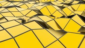 Abstract seamless gold triangular crystalline background animation. Seamless loop stock footage