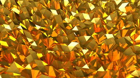 Abstract seamless gold triangular crystalline background animation. Seamless loop stock video footage