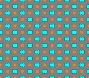 Abstract seamless gray background with blue flowers and orange squares. Are laid out in rows and form a pattern royalty free illustration