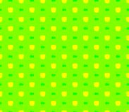 Abstract seamless green background yellow squares and green ribbons. Lined in rows to form a continuous pattern Stock Images