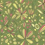 Abstract seamless green flowers pattern Stock Images