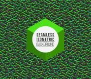 Abstract Seamless Green Tetris Blocks Vector Isometric Background Stock Image