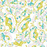 Abstract seamless hand-drawn pattern with leaves and flowers. Seamless pattern can be used for wallpaper, pattern fills, web page background, surface textures Royalty Free Stock Photography