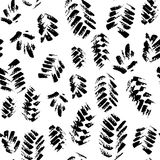 Abstract seamless hand drawn pattern. Modern grunge texture with botanical motif. Monochrome brush painted background. Stock Image