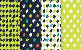 Abstract seamless hand drawn pattern set. Modern free hand textures. Colorful minimalistic doodle backgrounds. Stock Photography