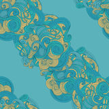Abstract seamless hand-drawn wave pattern. Stock Image