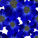 Abstract seamless hand painted background. Isolated blue flowers Royalty Free Stock Photo