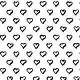 Abstract seamless heart pattern. Black and white. Abstract seamless heart pattern. Ink vector illustration. Black and white Stock Illustration