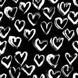 Abstract seamless heart pattern. Ink illustration. Black and white. Stock Photo