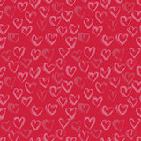 Abstract seamless heart pattern. Ink illustration. Pink and red romantic background Royalty Free Stock Photo