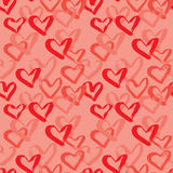 Abstract seamless heart pattern. Ink illustration. Red and pink background Stock Images