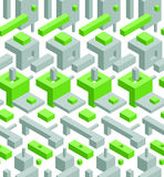 Abstract Seamless Hi-Tech Background with Gray and Green 3D Objects on White Stock Photos