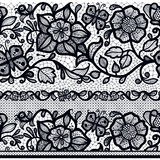 Abstract seamless horizontal lace pattern with flowers and butterflies Royalty Free Stock Photos