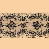 Abstract seamless horizontal lace pattern with flowers and butterflies Royalty Free Stock Photo