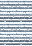 Stars & Stripes Seamless Repeat. Abstract Seamless Horizontal striped pattern with stars. Pattern with red, blue and white stripes. Vector illustration Royalty Free Stock Images
