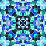 Abstract seamless kaleidoscopic pattern, great background, italian floor background, blue and shadows pattern stock illustration