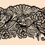 Abstract seamless lace pattern with flowers vector illustration