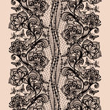 Abstract seamless lace pattern with flowers and butterflies. Stock Images
